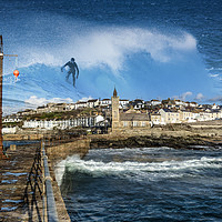 Buy canvas prints of Surfing in Porthleven  in Cornwall by kathy white