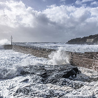 Buy canvas prints of Storm Freya at Porthleven pier  by kathy white