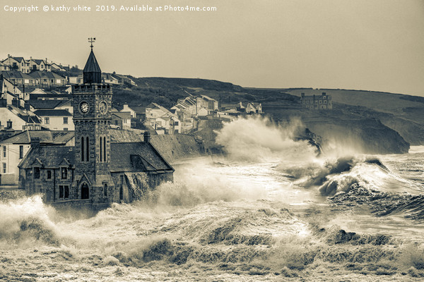 large storm at Porthleven cornwall Canvas Print by kathy white