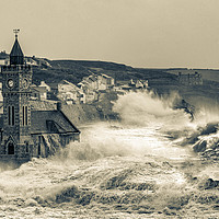Buy canvas prints of large storm at Porthleven cornwall by kathy white