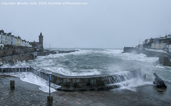 Storm  Porthleven Cornwall Canvas print by kathy white