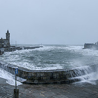 Buy canvas prints of Storm  Porthleven Cornwall by kathy white