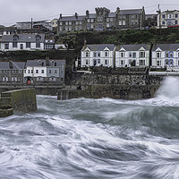 Buy canvas prints of  Porthleven Cornwall Stormy weather with  large wa by kathy white