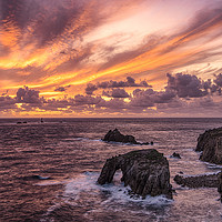 Buy canvas prints of  Lands End Cornwall at sunset by kathy white