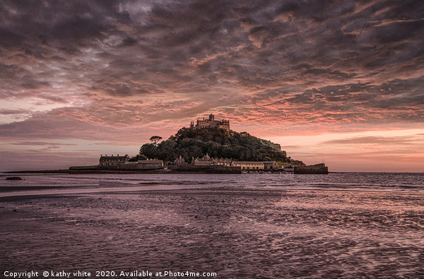 Sunset, St Michael's Mount  Cornwall  Canvas Print by kathy white