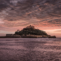 Buy canvas prints of Sunset, St Michael's Mount  Cornwall  by kathy white