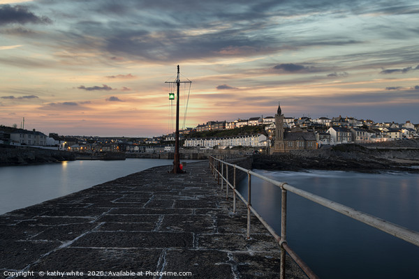 Porthleven Cornwall sunrise  Good morning  Canvas Print by kathy white