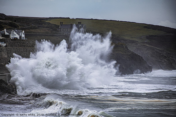 Storm waves at Porthleven  Canvas Print by kathy white