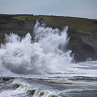 Buy canvas prints of Storm waves at Porthleven  by kathy white