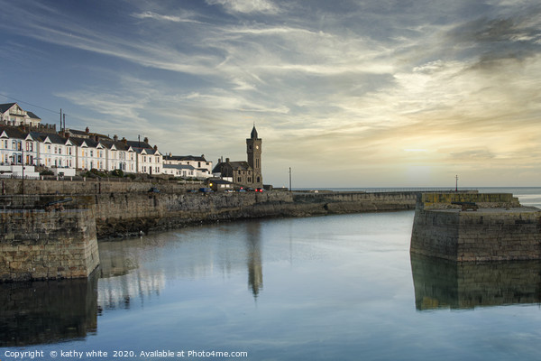Porthleven Clock tower at sunset Canvas Print by kathy white