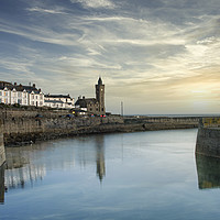 Buy canvas prints of Porthleven Clock tower at sunset by kathy white