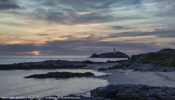 Godrevy Lighthouse Cornwall sunset Canvas Print by kathy white