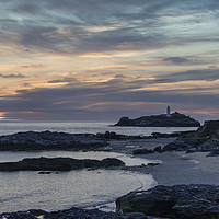 Buy canvas prints of Godrevy Lighthouse Cornwall sunset by kathy white