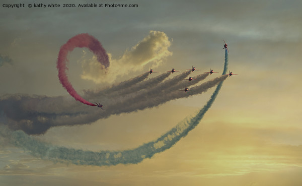 Red arrows  Flying the loop Canvas Print by kathy white