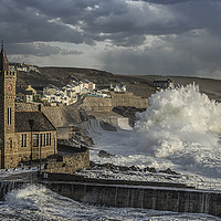 Buy canvas prints of Stormy Day at Porthleven with great sky by kathy white