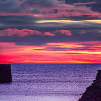 Buy canvas prints of Seaham Lighthouse at Sunrise by Robert Barnes