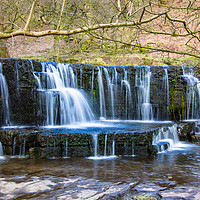 Buy canvas prints of Waterfall near Scar House Reservoir. by Robert Barnes