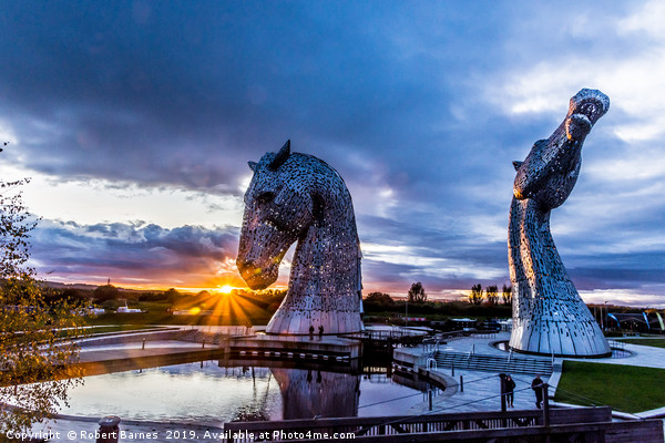 Sunset Kelpies Canvas print by Robert Barnes