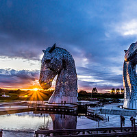 Buy canvas prints of Sunset Kelpies by Robert Barnes