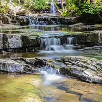Buy canvas prints of Gibson's Cave & Summerhill Force by Robert Barnes