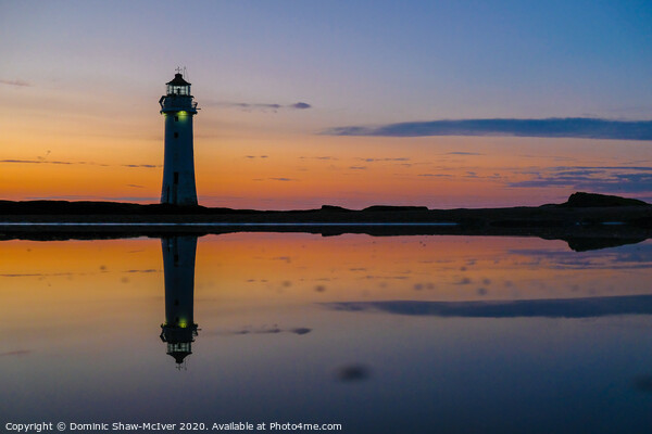 New Brighton Lighthouse sunset Print by Dominic Shaw-McIver