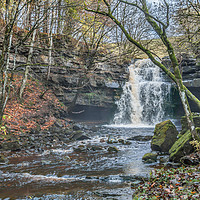 Buy canvas prints of Autumn at Summerhill Force Waterfall, Teesdale by Richard Laidler