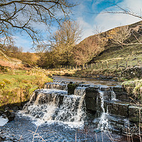 Buy canvas prints of Winter Sun, Ettersgill Beck Waterfall by Richard Laidler