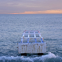 Buy canvas prints of The sun sets at the coast of Nice, France by Rainer Puster