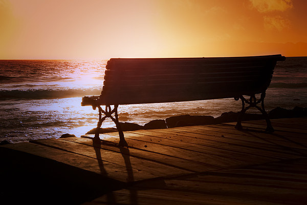 Dreamy Sunset Bench Canvas print by Jeff Hobkirk