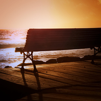 Buy canvas prints of Dreamy Sunset Bench by Jeff Hobkirk