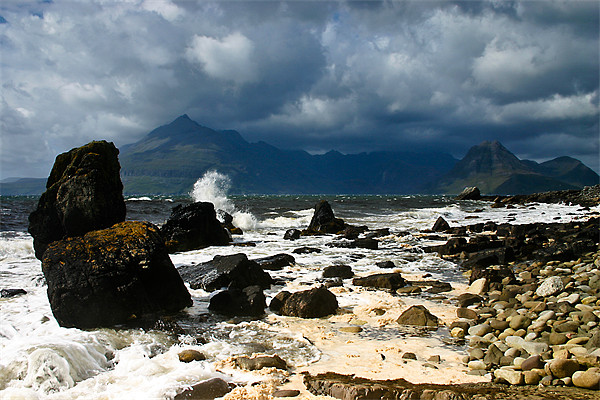 Storm Clouds Over Elgol Beach Canvas Print by Jeff Hobkirk
