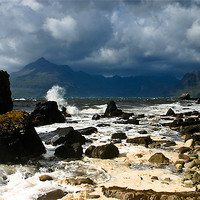 Buy canvas prints of Storm Clouds Over Elgol Beach by Jeff Hobkirk