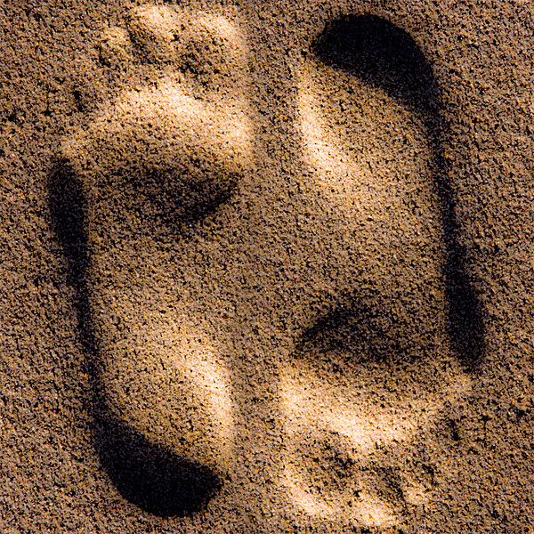 Footprints In The Sand Canvas Print by Jeff Hobkirk