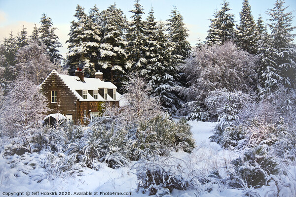 Winter Cottage Canvas Print by Jeff Hobkirk