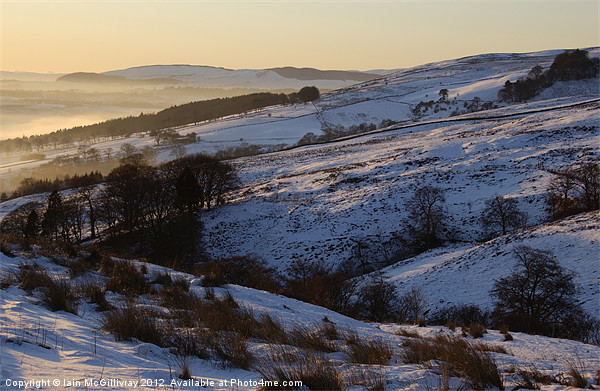 Campsie Snow Scene at Sunset Framed Mounted Print by Iain McGillivray