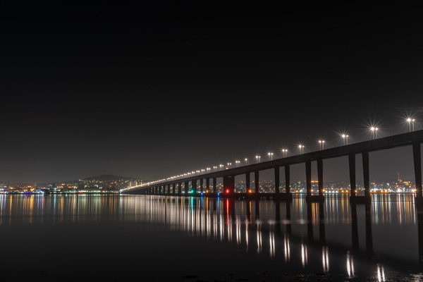 Tay Road Bridge at Night from Tayport Canvas print by Callum Laird