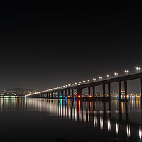 Buy canvas prints of Tay Road Bridge at Night from Tayport by Callum Laird