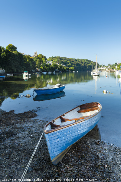 Boats on the River Yealm at Noss Mayo Canvas print by Justin Foulkes