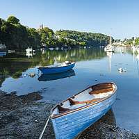 Buy canvas prints of Boats on the River Yealm at Noss Mayo by Justin Foulkes