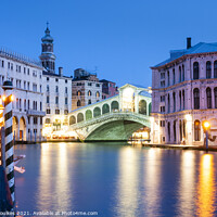 Buy canvas prints of The Rialto bridge at night by Justin Foulkes
