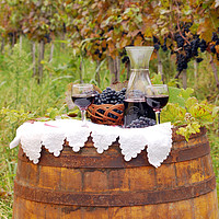 Buy canvas prints of red wine and grape on barrel by goce risteski