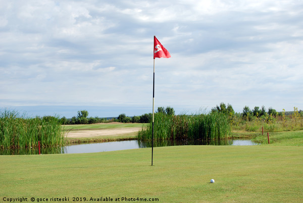 golf course with red flag and ball Canvas Print by goce risteski