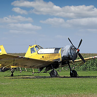 Buy canvas prints of crop duster airplane on airfield by goce risteski