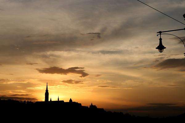 sunset over Fisherman bastion Budapest Canvas Print by goce risteski