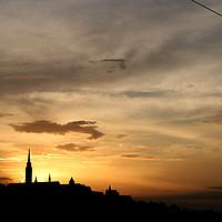 Buy canvas prints of sunset over Fisherman bastion Budapest by goce risteski