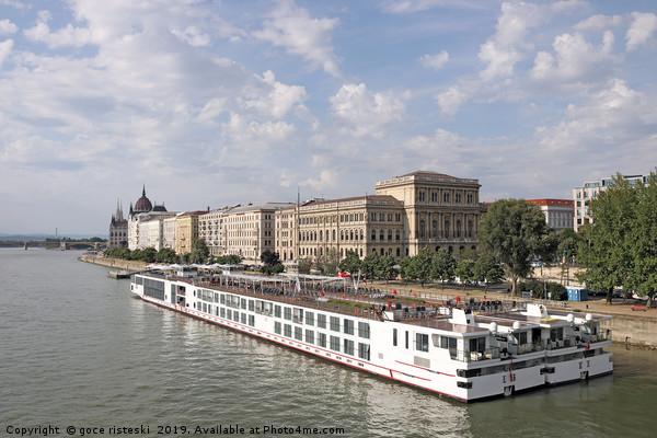 river cruiser ship on Danube river Budapest Canvas Print by goce risteski
