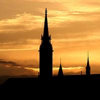 Buy canvas prints of sunset Fisherman bastion silhouette Budapest Hunga by goce risteski