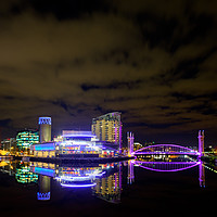 Buy canvas prints of Lowery Reflections 2 - Salford Quays  by David Tomlinson