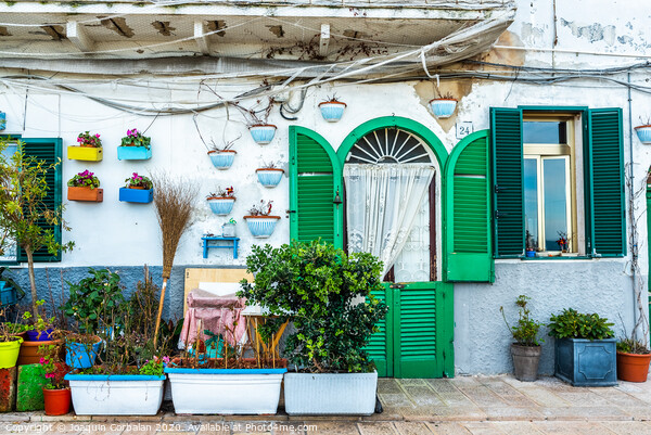 Facades of old Italian Mediterranean houses in Bari painted in colors. Acrylic by Joaquin Corbalan