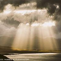 Buy canvas prints of Sunbeams fall among the clouds in a lake between mountains. by Joaquin Corbalan